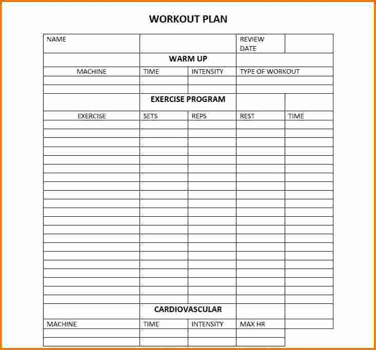 Personal Fitness Plan Template Unique Daily Workout Calendar 2018 Template Excel Word Pdf