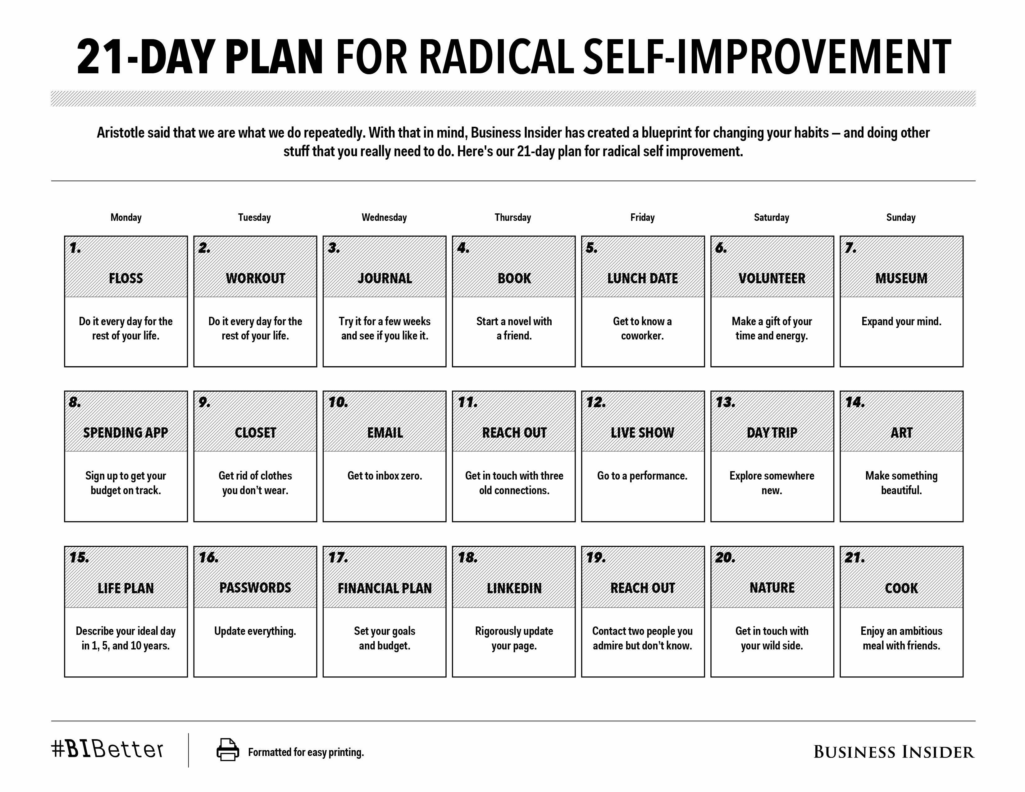 Personal Improvement Plan Template Fresh 21 Day Plan for Radical Self Improvement [print Friendly