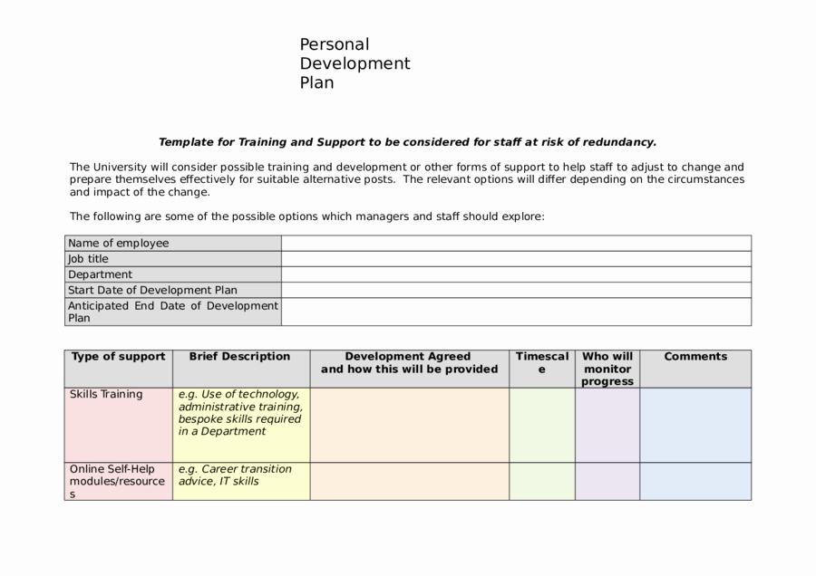 Personal Improvement Plan Template Lovely 2019 Personal Development Plan Fillable Printable Pdf