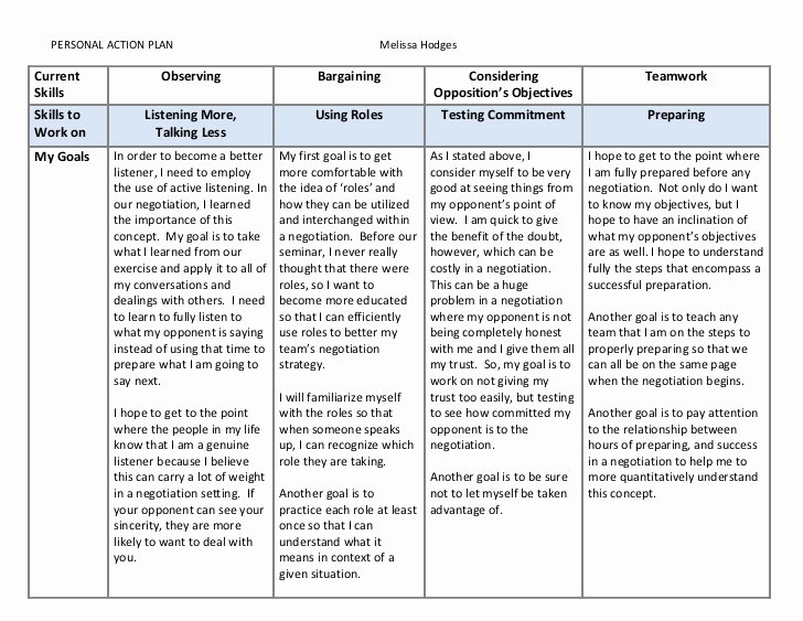 Personal Learning Plan Template New Model Personal Action Plan