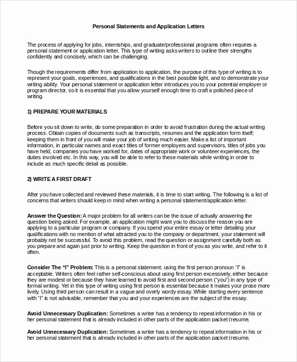 Personal Letter format Examples Awesome Application Personal Statement