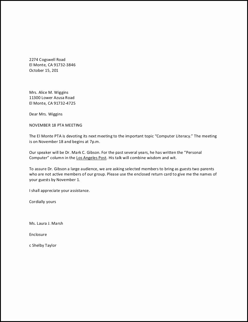 Personal Letter format Examples Awesome Personal Business Letter Example