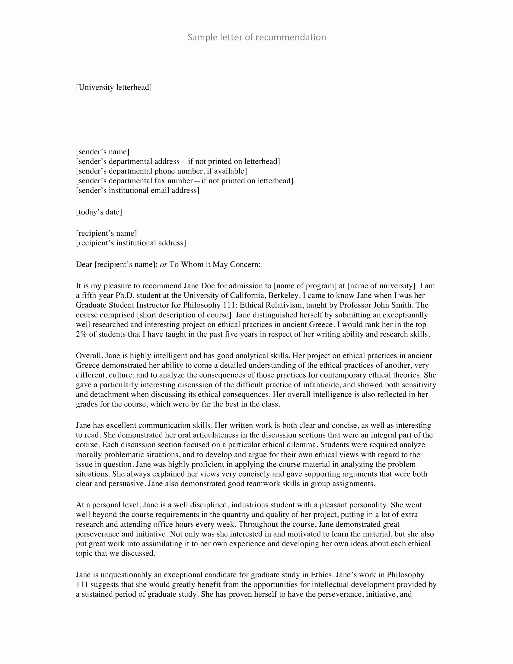 Personal Letter format Examples Beautiful 9 Personal Re Mendation Letter Examples Pdf