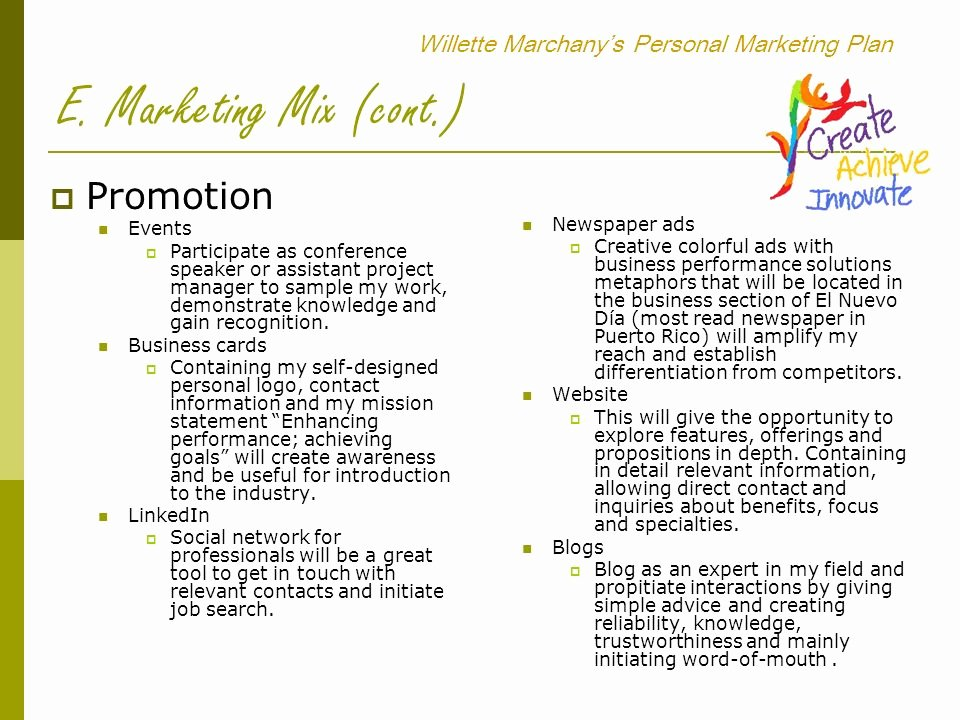 Personal Marketing Plan Template New Willette Marchany's Personal Marketing Plan Ppt Video