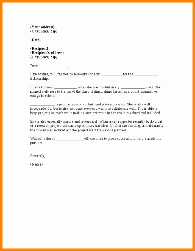 Personal Recommendation Letter for Scholarship Awesome Scholarship Re Mendation Letter