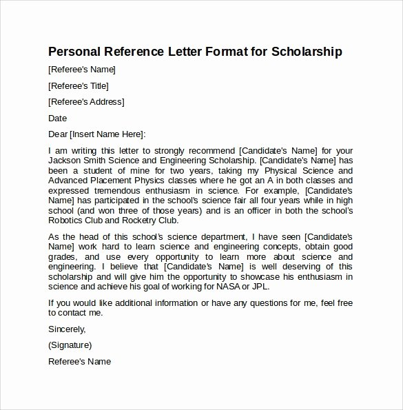 Personal Recommendation Letter for Scholarship Elegant Sample Reference Letter format 7 Download Free