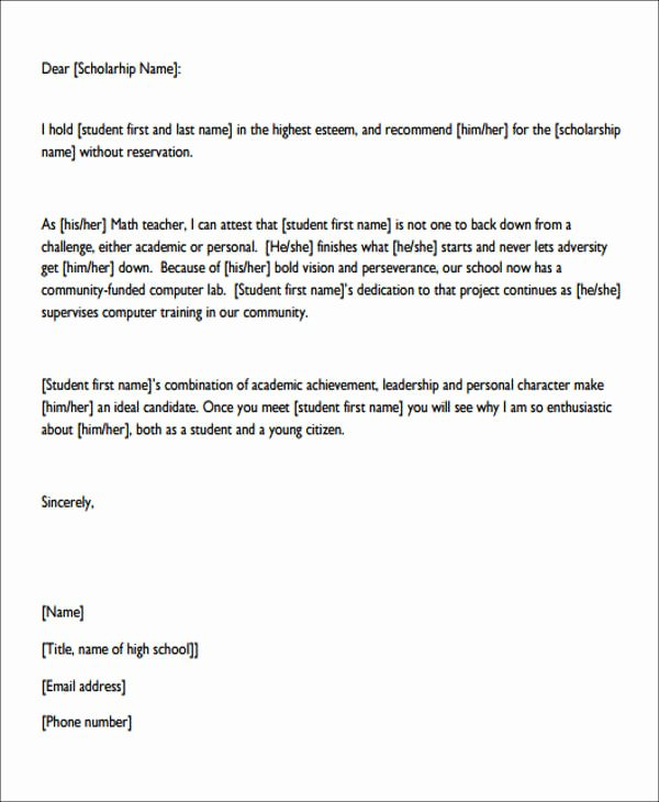 Personal Recommendation Letter for Scholarship Fresh 7 Sample Personal Re Mendation Letter Free Sample
