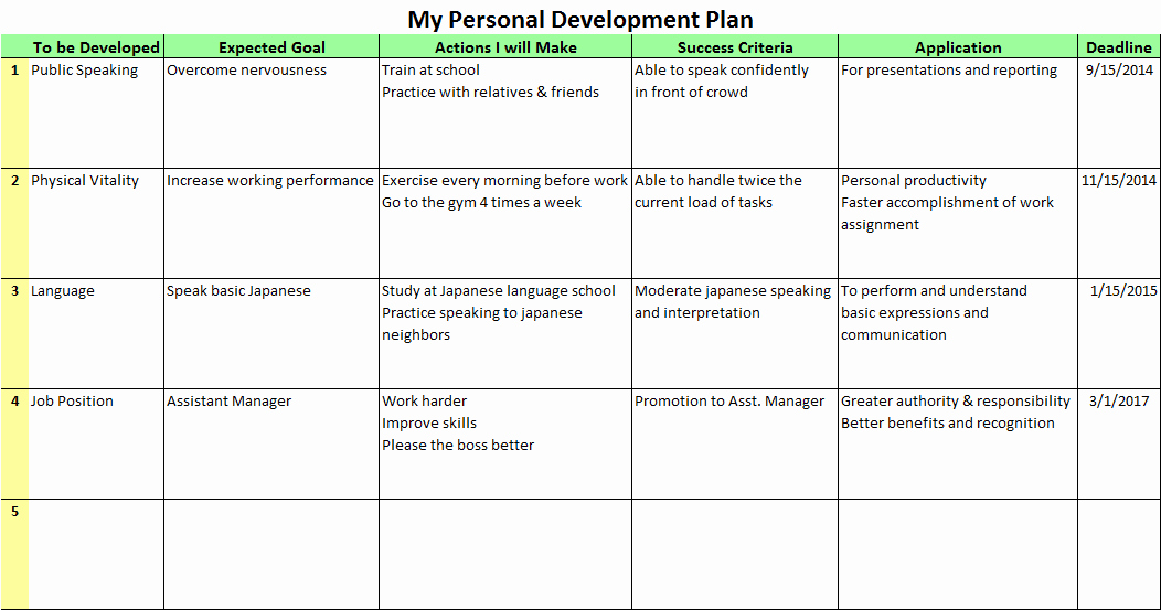 Personal Strategic Plan Template Beautiful Personal Development Plan Templates