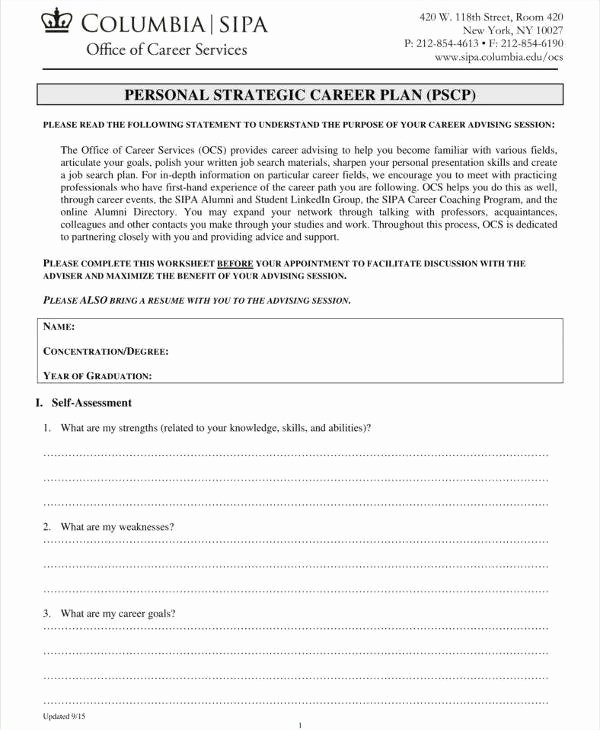 Personal Strategic Plan Template Elegant 8 Personal Strategic Plan Templates Pdf