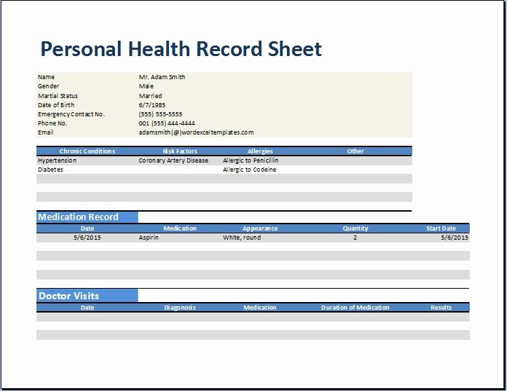 Personal Wellness Plan Template Lovely Personal Medical Health Record Worksheet Template