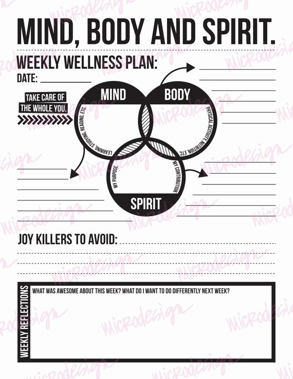 Personal Wellness Plan Template New Mind Body Spirit Weekly Wellness Plan Able Goal
