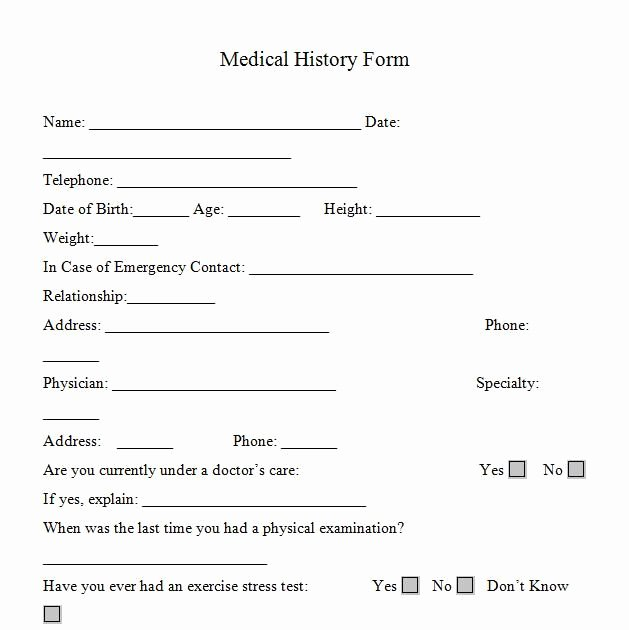 Personal Wellness Plan Template Unique Printable Medicalhistory forms In Word and Pdf format