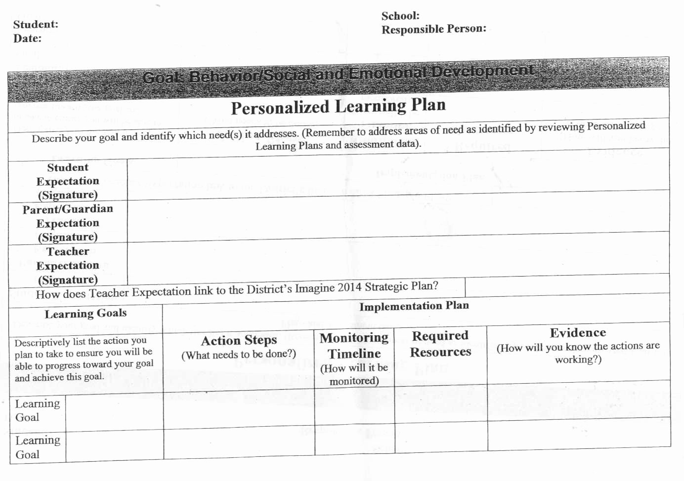 Personalized Learning Plan Template Unique 18 Of Student Learning Plan Template