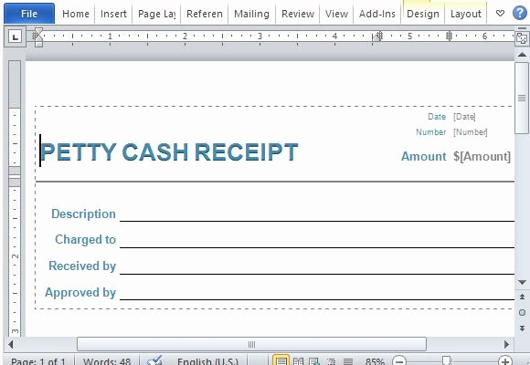Petty Cash Receipt Template Best Of Petty Cash Receipt form for Word