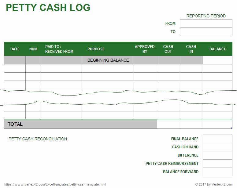 Petty Cash Voucher Template Luxury Petty Cash Log Template