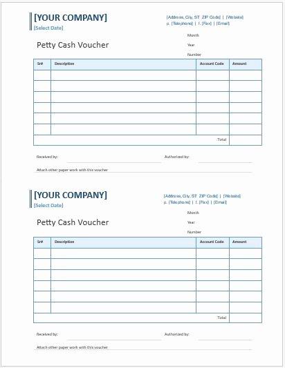 Petty Cash Voucher Template Unique Petty Cash Voucher Templates for Ms Word