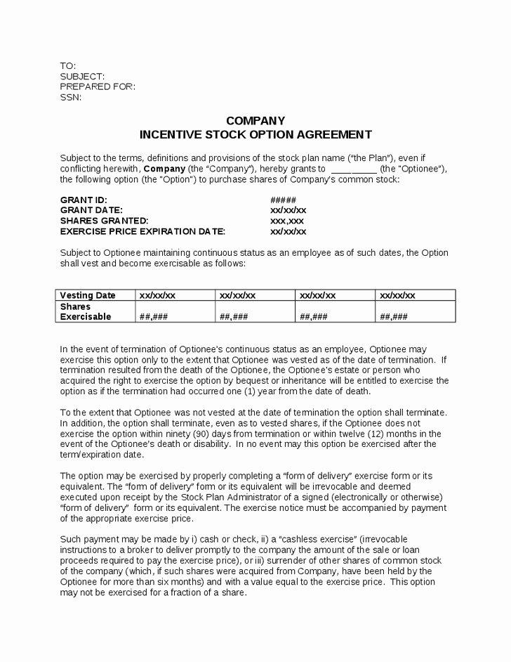 Phantom Stock Agreement Template Luxury Employee Bonus Agreement Exclusive Stock Option Grant
