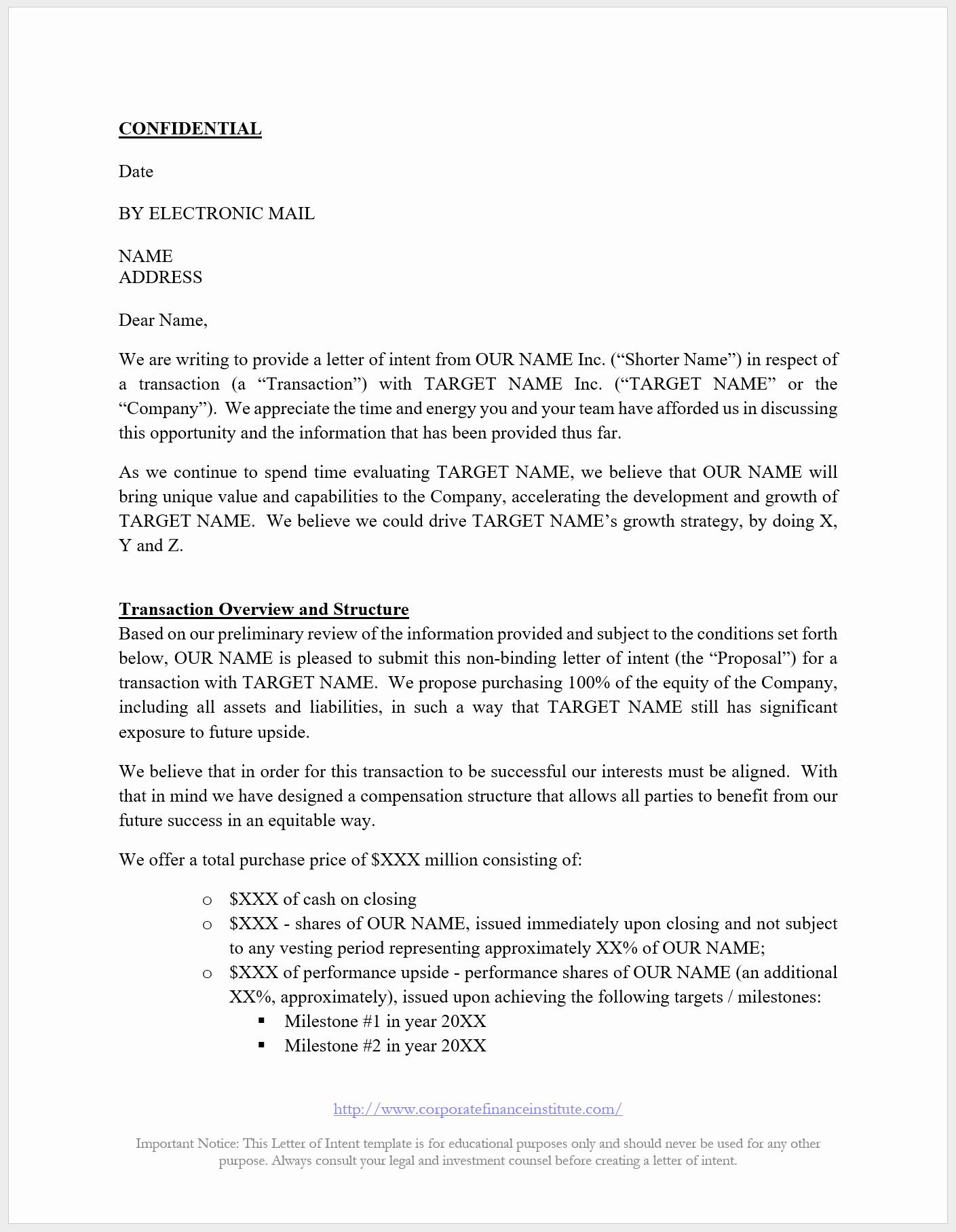 Phantom Stock Agreement Template Unique Letter Of Intent Loi Template All the Key Terms