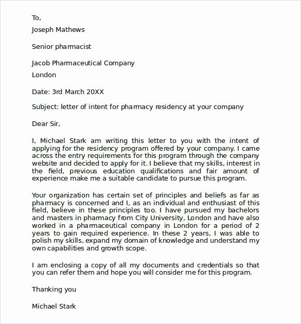 Pharmacist Letter Of Recommendation Sample Elegant Sample Pharmacy Residency Letter Intent