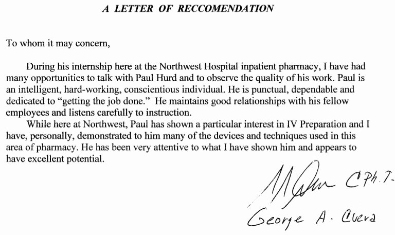 Pharmacist Letter Of Recommendation Sample Fresh Letter Re Mendation