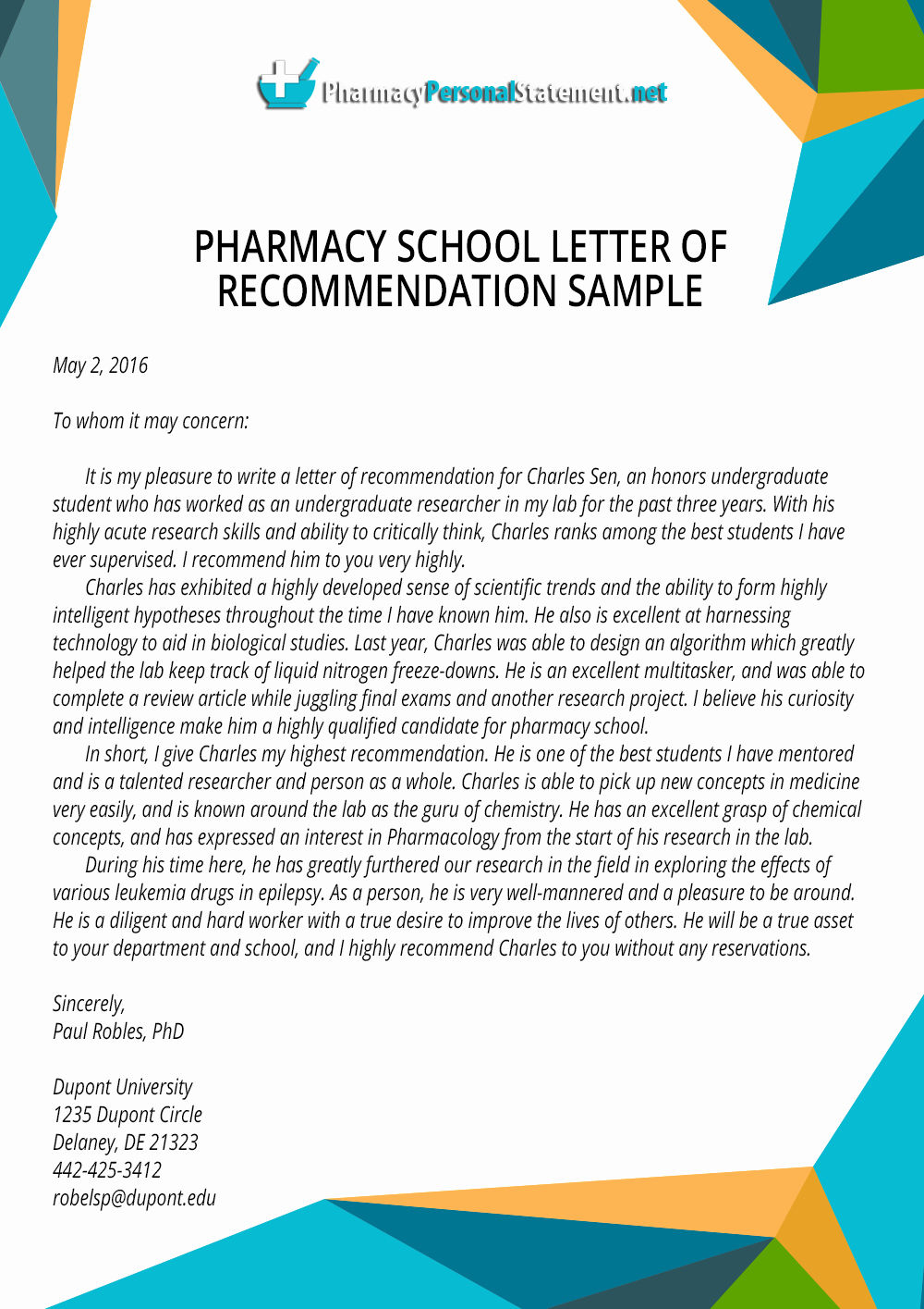 Pharmacy Letter Of Recommendation Fresh Letter Of Re Mendation for Pharmacy School Writing