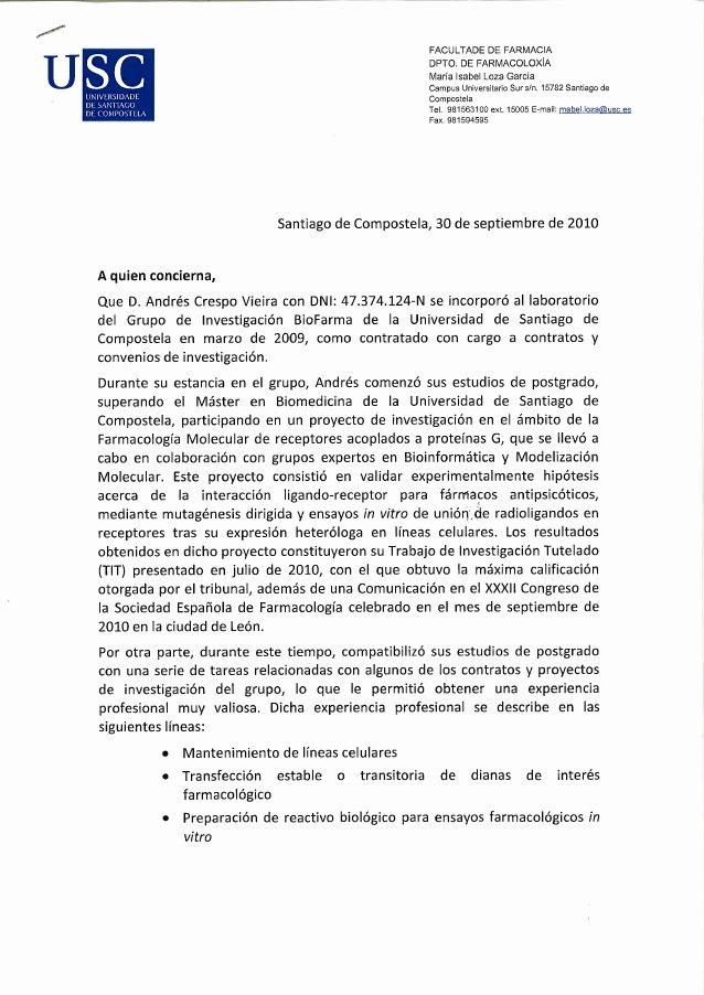 Pharmacy Letter Of Recommendation Lovely Re Mendation Letter andres Crespo Pharmacy with