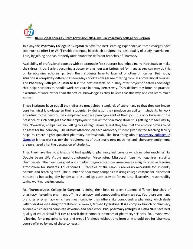 Pharmacy Residency Letter Of Recommendation Elegant Admission 2014 15 Start In Ram Gopal Pharmacy College Of