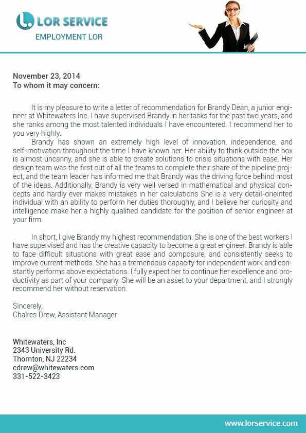 Pharmacy Residency Letter Of Recommendation Lovely Letter Of Re Mendation for Employment Writing Service