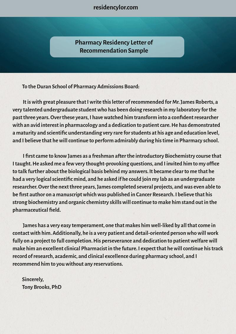 Pharmacy Residency Letter Of Recommendation Luxury Professional Medical Re Mendation Letter for Residency