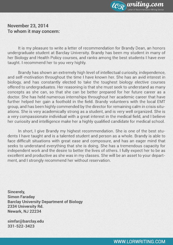 residency letter of re mendation sample