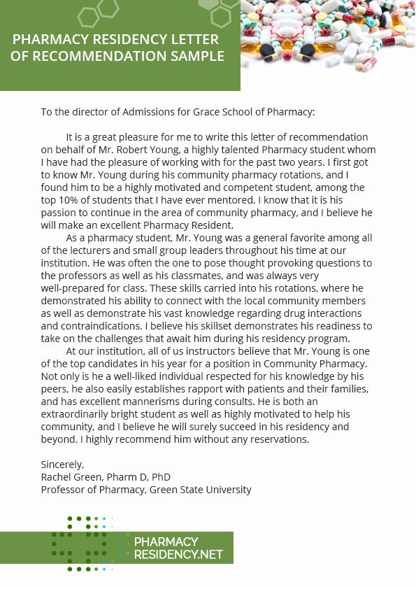 Pharmacy Residency Letter Of Recommendation New [sample Letter Re Mendation for Residency Application