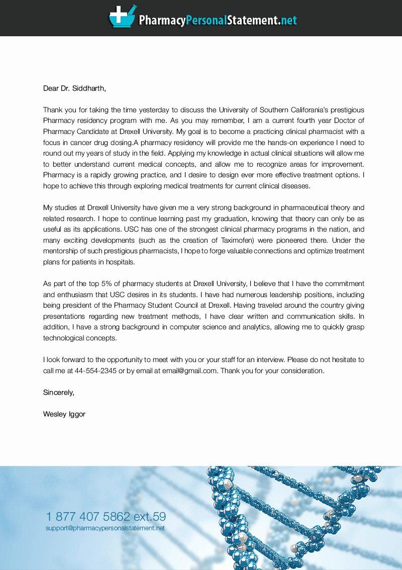 Pharmacy Residency Letter Of Recommendation Unique Best Pharmacy Residency Letter Of Intent Sample