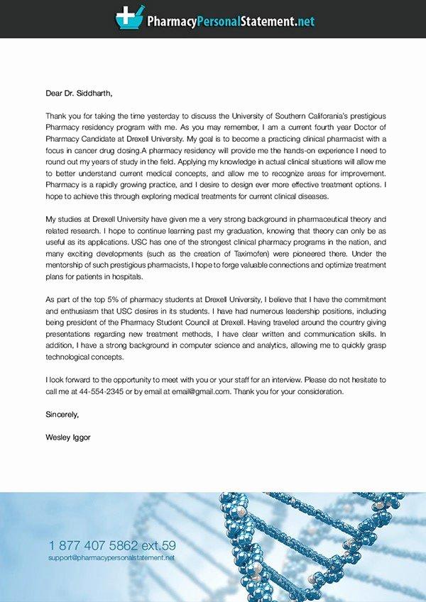 Pharmacy School Letter Of Recommendation Fresh Sample Pharmacy Residency Letter Intent