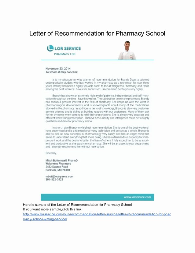 Pharmacy School Letter Of Recommendation Unique Samples Of Letter Of Re Mendation