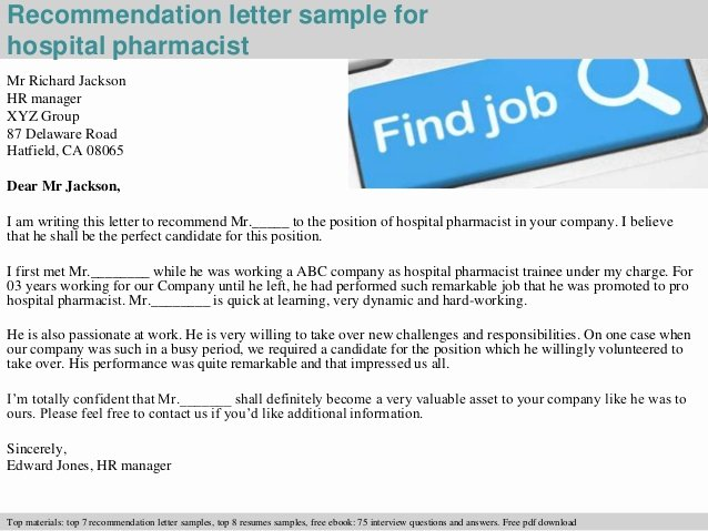 Pharmacy School Recommendation Letter Fresh Hospital Pharmacist Re Mendation Letter