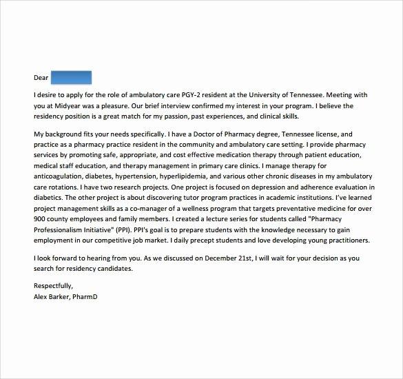 Pharmacy School Recommendation Letter Fresh Sample Pharmacy Residency Letter Of Intent 3 Documents