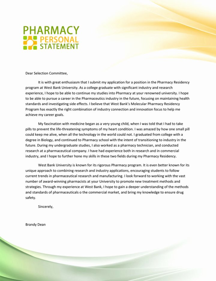 Pharmacy School Recommendation Letter Inspirational 15 Pharmacy Personal Statement Examples