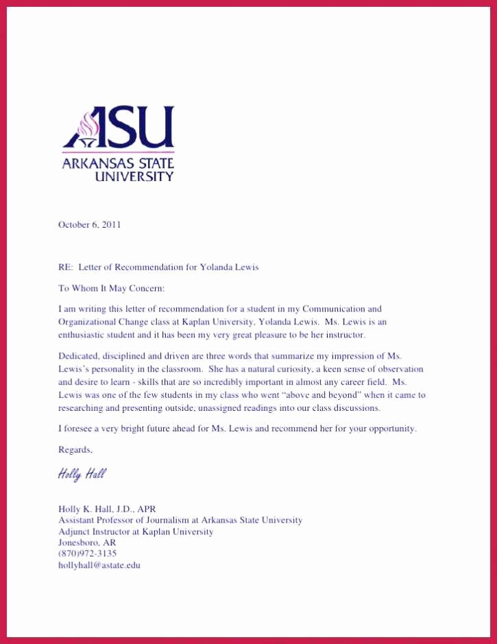 Phd Letter Of Recommendation Awesome Re Mendation Letter for Graduate School From Professor