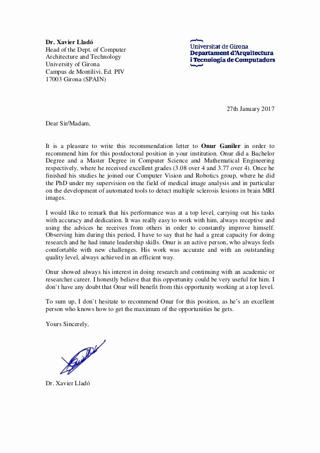 Phd Letter Of Recommendation Fresh Re Mendation Letter From Phd Xavier Llado