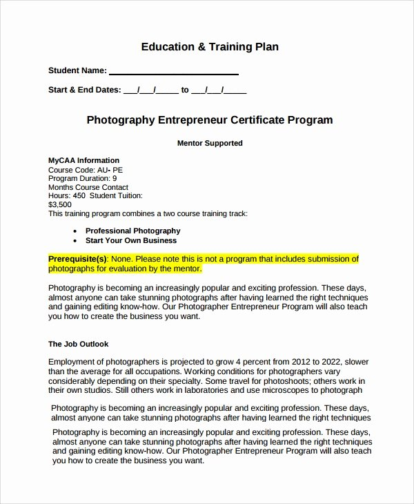 Photography Business Plan Template Inspirational Sample Graphy Business Plan 12 Documents In Pdf