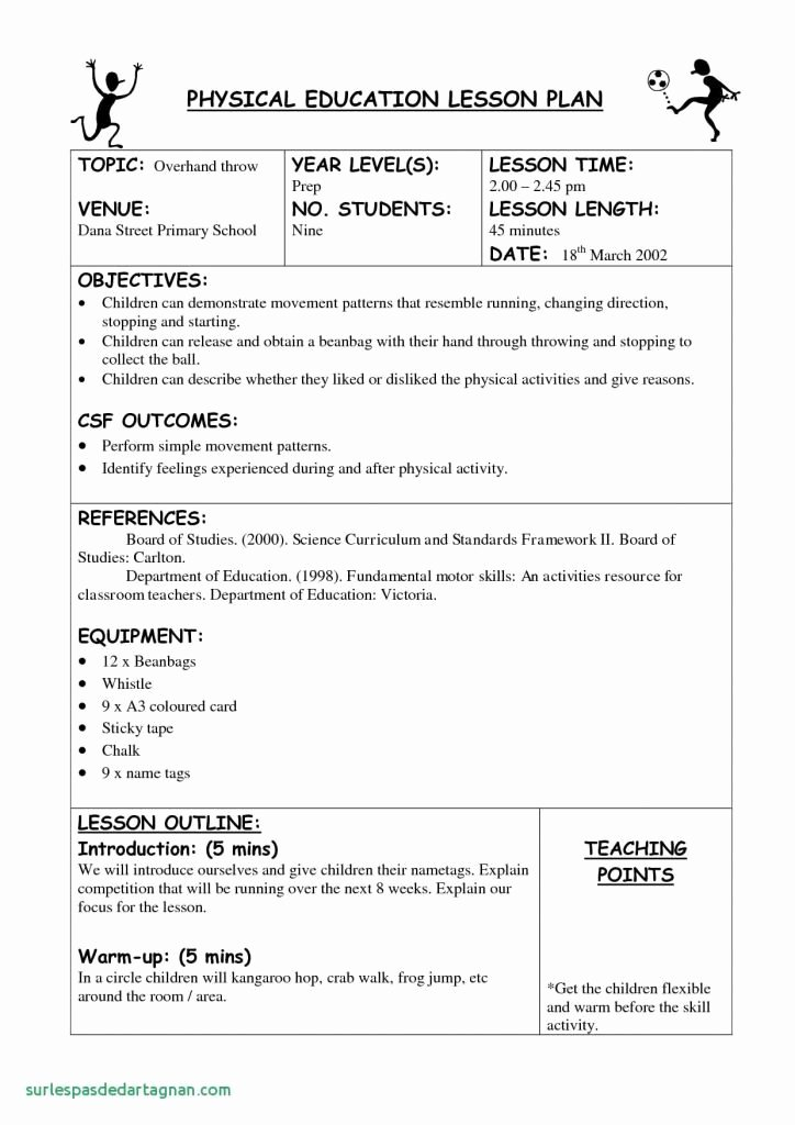 Phys Ed Lesson Plan Template Beautiful Department Education Lesson Plan Template