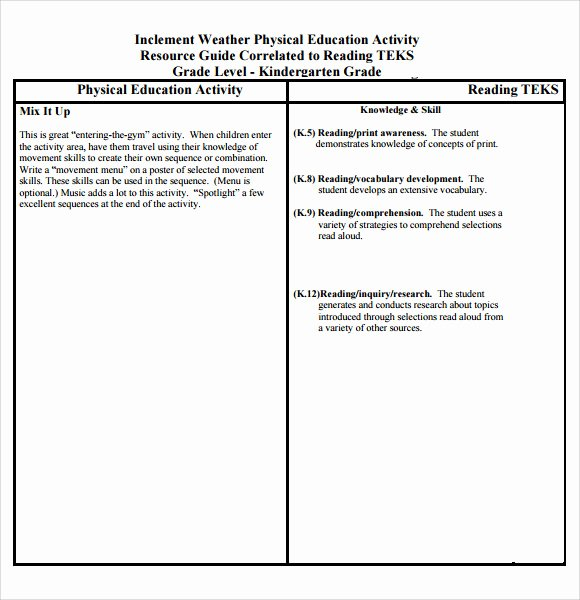 Phys Ed Lesson Plan Template Beautiful Sample Physical Education Lesson Plan Template 7 Free