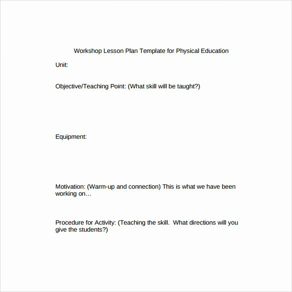 Phys Ed Lesson Plan Template Inspirational Sample Physical Education Lesson Plan 14 Examples In