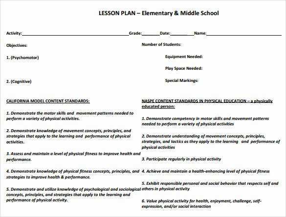 Phys Ed Lesson Plan Template Luxury 15 Sample Physical Education Lesson Plans