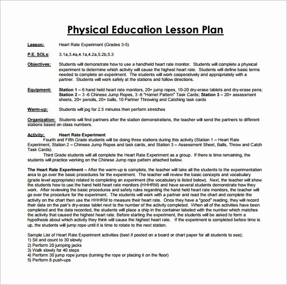 Phys Ed Lesson Plan Template Luxury Lesson Plan Examples for Pe Templates Resume Examples