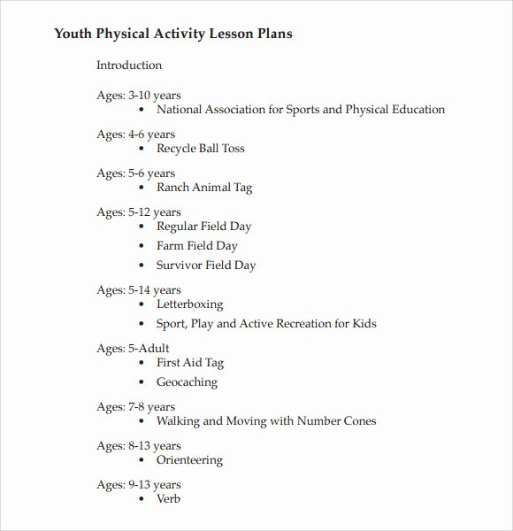 Phys Ed Lesson Plan Template New 8 Physical Education Lesson Plan Templates for Free
