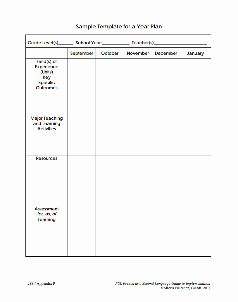 Phys Ed Lesson Plan Template New Alberta Education Long Range Plan Templates Black and