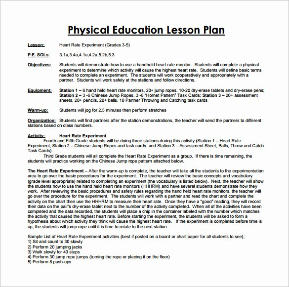 Phys Ed Lesson Plan Template New Physical Education Lesson Plan Template 7 Free Pdf