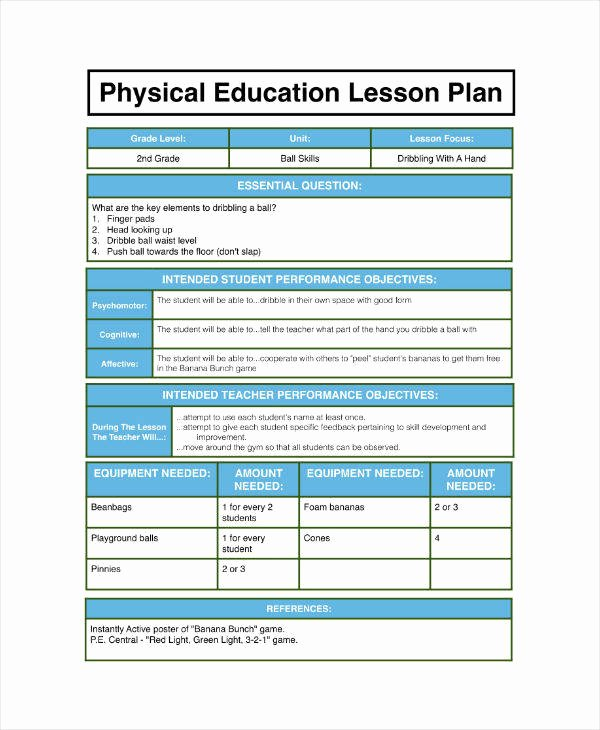 Physical Education Lesson Plan Template Best Of 7 Physical Education Lesson Plan Templates Pdf Word