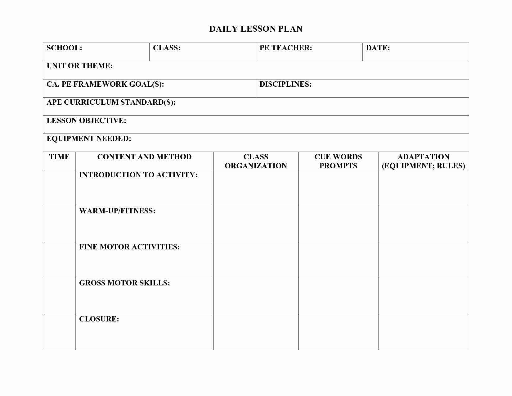 Physical Education Lesson Plan Template Fresh Pe Lesson Plan Template Education
